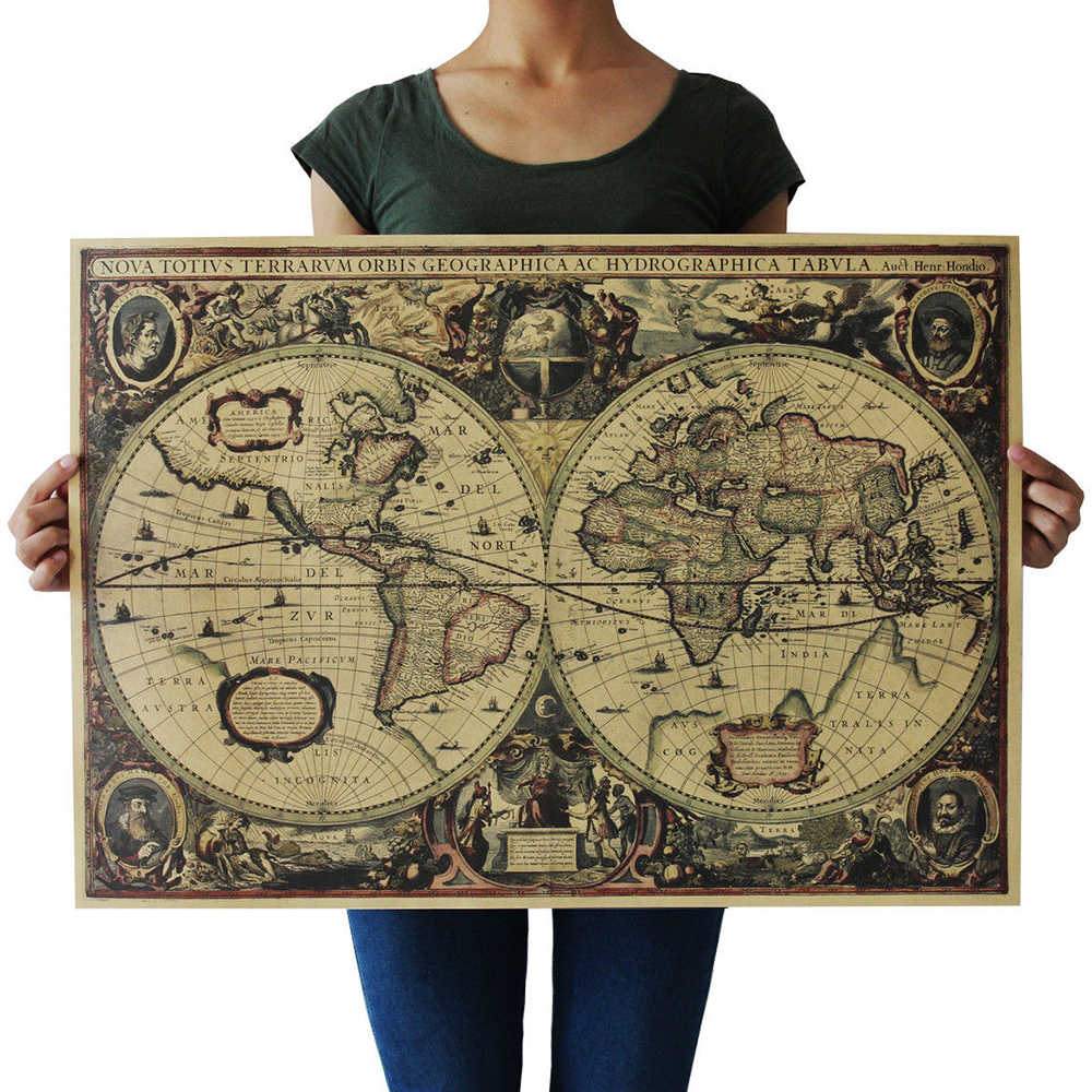 Retro World Map 72.5*51.5cm Nautical Ocean Map Vintage Kraft Paper Poster Wall Sticker Antique Painting & Calligraphy Free Ship