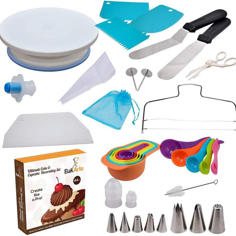 45 Piece Cake Decorating Supplies Turntable Piping Tip Nozzle Pastry Bag Set DIY Cake Baking Tool45 Piece Cake Decorating Supplies Turntable Piping Tip Nozzle Pastry Bag Set DIY Cake Baking Tool