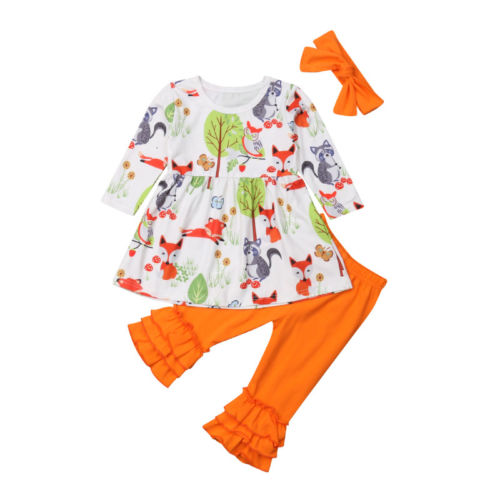 Toddler Baby Girls Spring And Autumn Long Sleeve Cotton Clothes Set Floral Fox Tops+Pure Color Long Pants+Headband Outfits