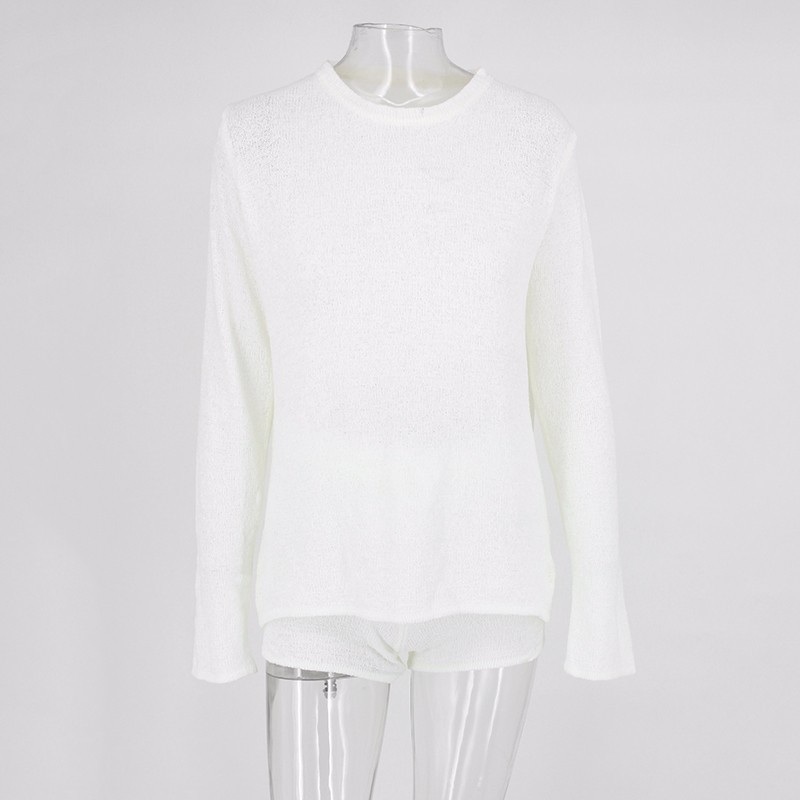 fb52228cd77 Fuedage Knitting White Sweater Sexy 2 Piece Set Women Solid Bandage Long  Sleeve Top And Short Women Set Two Piece Set Outfits-in Women s Sets from  Women s ...