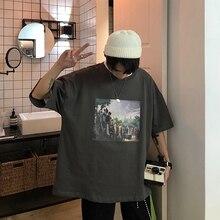 2019 夏の韓国語バージョンキャンパスのファッショントレンドカップルの男性の半袖カジュアルルースラウンドネックプリントスポーツ Tシャツ