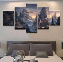 HD Printed Canvas Wall Art Poster Home Decoration 5 Panel Fantasy Dragon House Lava Mountain Pictures Modular Painting