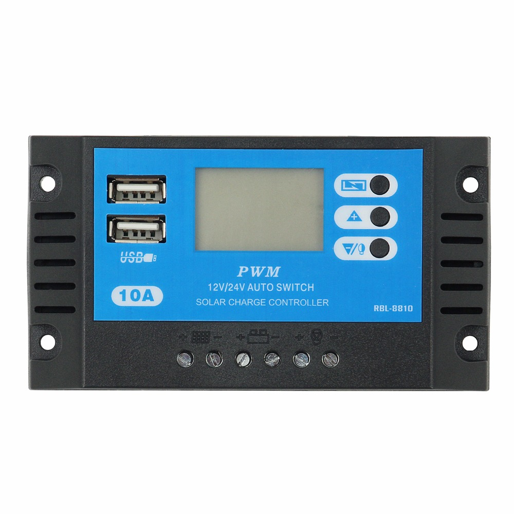 Newly PWM Solar Charge Controller 10A 12V 24V Auto LCD Solar Charger With Dual USB Output 10A Solar PV Regulator For PV System