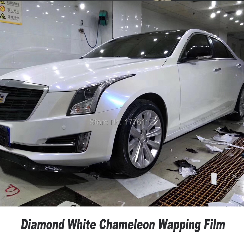 Haute qualité brillant blanc à rose/or/bleu diamants blanc caméléon emballage film vinyle pour voiture haut de gamme diverses couleurs