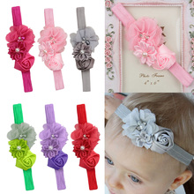 Fashion Kids Girl Headband Flower Pearl Flower Hair Band Headband Hairband Hair Apparel Accessories Kids flower overlay headband