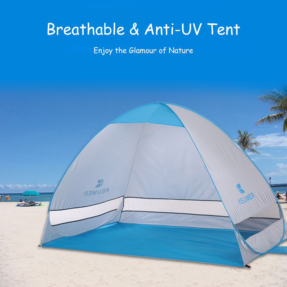 KEUMER Instant Pop Up Tent Automatic Beach Tent Portable Outdoor Camping Tent Fishing Hiking Sunshade Shelter 200*120*130cm