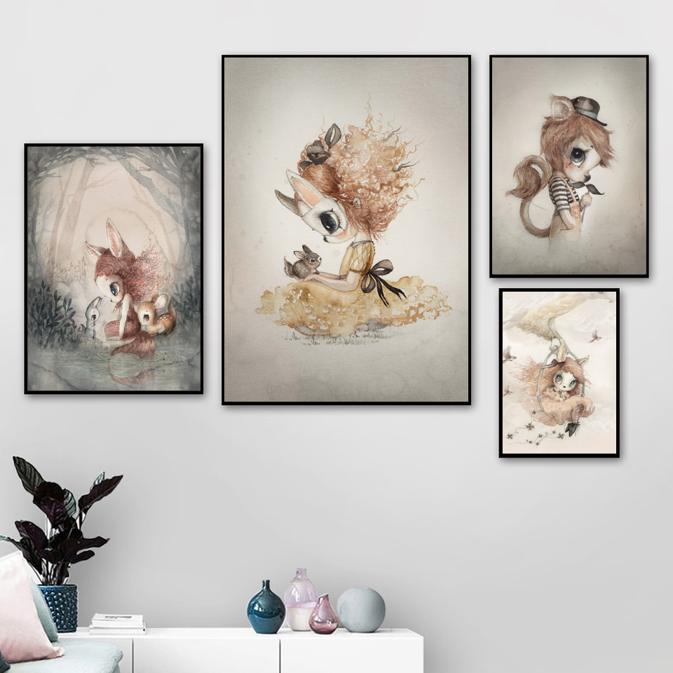 US $24.24 24% OFFBaby Girl Room Decor Wall Art Paintings Posters And Prints  Baby Room Wall Decoration Cartoon Rabbit Decor Nordic Canvas