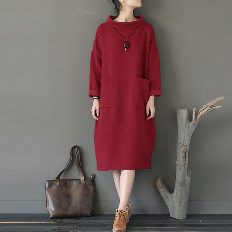 ZANZEA Vintage Winter Women Stand Collar Dress Long Sleeve Fleece Loose Solid Sweatshirt Dress Party Pullover Vestido Plus Size