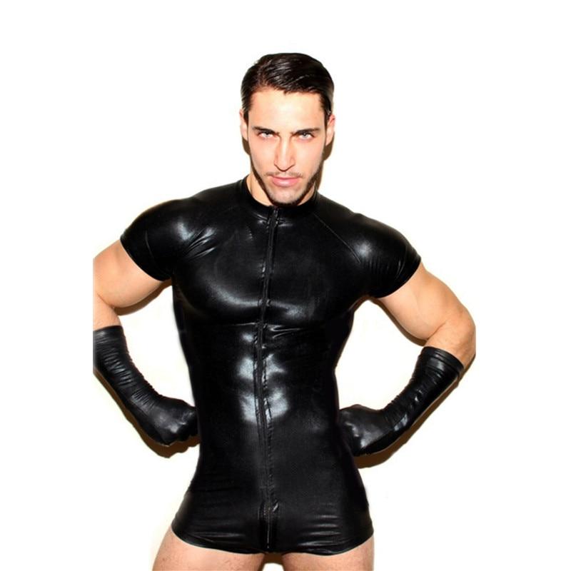Wet look latex Catsuit Faux Leather Mesh Jumpsuits Sexy Lingerie Men Black Stretch PVC Bodysuits Clubwear Open Crotch Body Suit