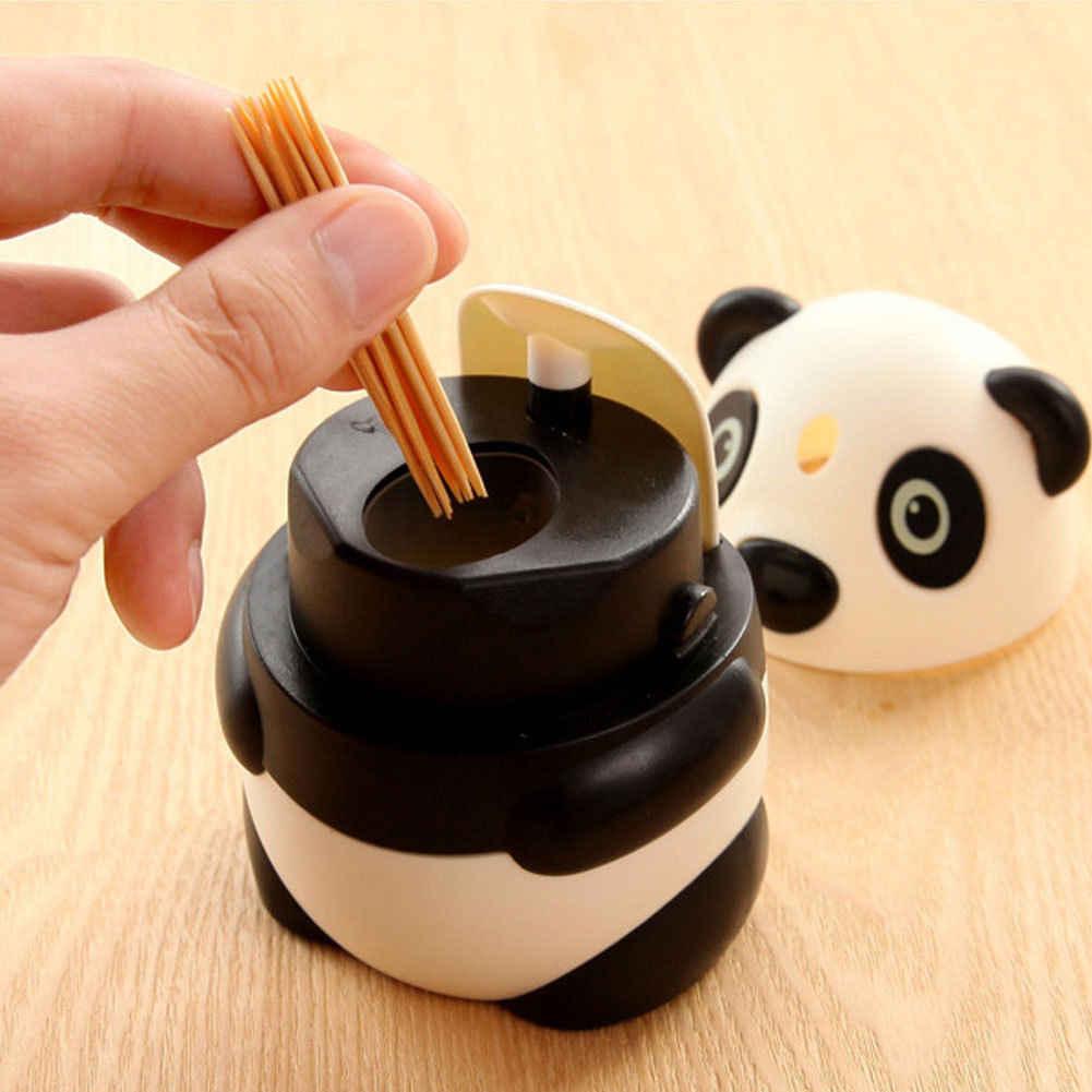 Cute Panda Shaped Toothpicks Holder Automatic Toothpick Box Dispenser Case Rack