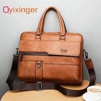 New Men Briefcase Bags Business Leather Bag Shoulder Messenger Bags Work Handbag 14 Inch Laptop Bag Bolso Hombre Bolsa Masculina