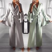 2019 Spring Irregular Flared Sleeve Wide Leg Jumpsuit Formal Style Knot Side Long Jumpsuits