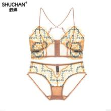SHUCHAN Newest Selling Europe French High-end Brandnew Lace Sexy Lingerie Underwear Women Bra Set Three Color Brasl015