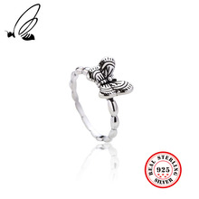 925 Sterling Silver Retro Butterfly Rings For Women High Quality Vintage Real Thai Silver Womens Ring Fine Jewelry Free Shipping цена 2017