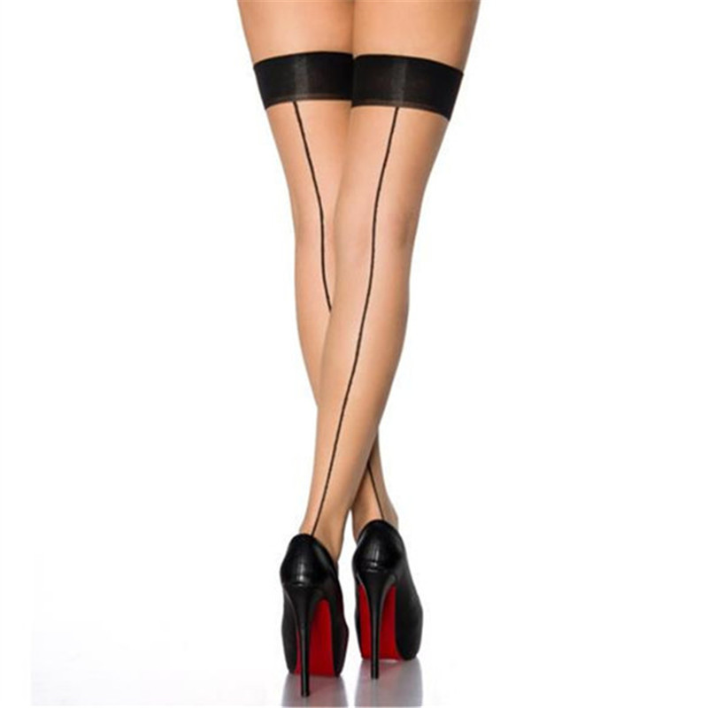 New Patchwork Sexy Stockings For Women Sexy Lingerie Retro Back Line Thigh High Nylon Stockings Transparent Over Knee Stockings
