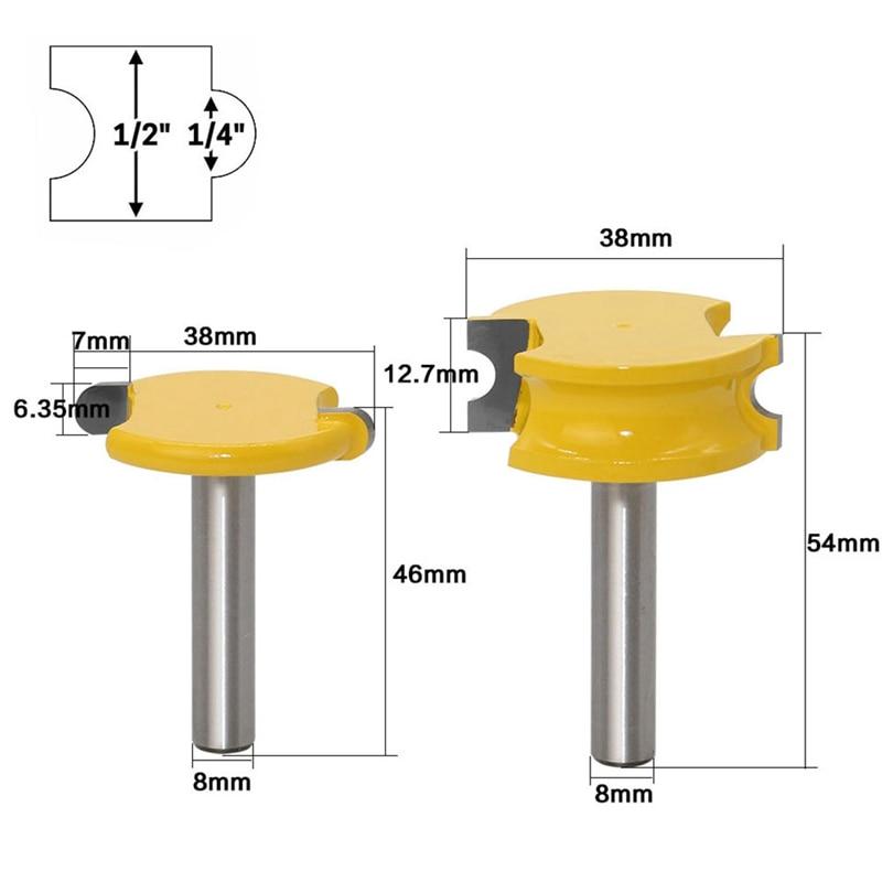"1//2/"" Shank Flute /& Bead Router Bits Set Woodworking Tenon Milling Cutter 2Pcs"