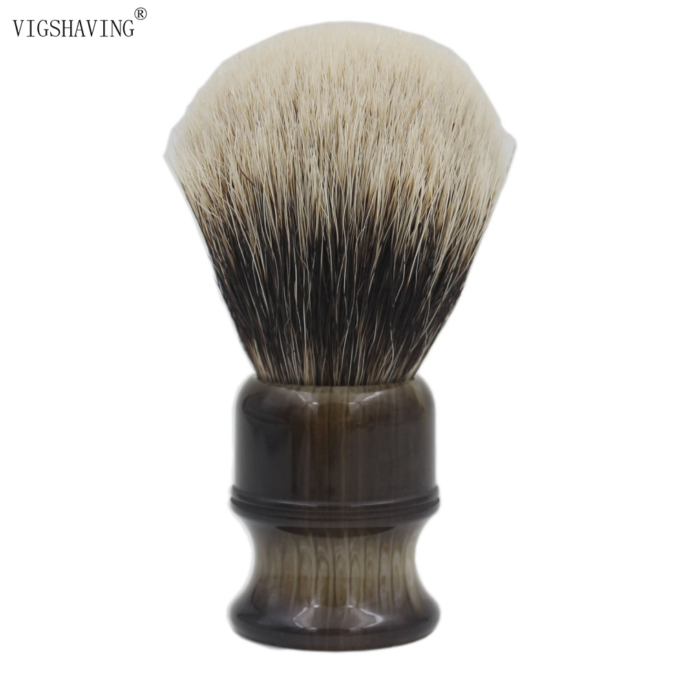 VIGSHAVING Faux Horn Resin Handle Finest 2band Badger Hair Shaving BrushVIGSHAVING Faux Horn Resin Handle Finest 2band Badger Hair Shaving Brush