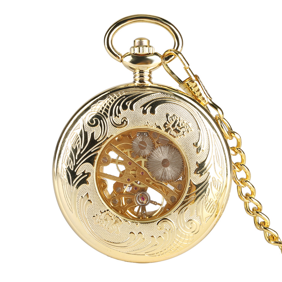 Retro Gold Mechanical Pocket Watch Hand Wind Transparent Skeleton Pendant Watch for Men Luxury Pocket Clock Gifts Unisex in Pocket Fob Watches from Watches
