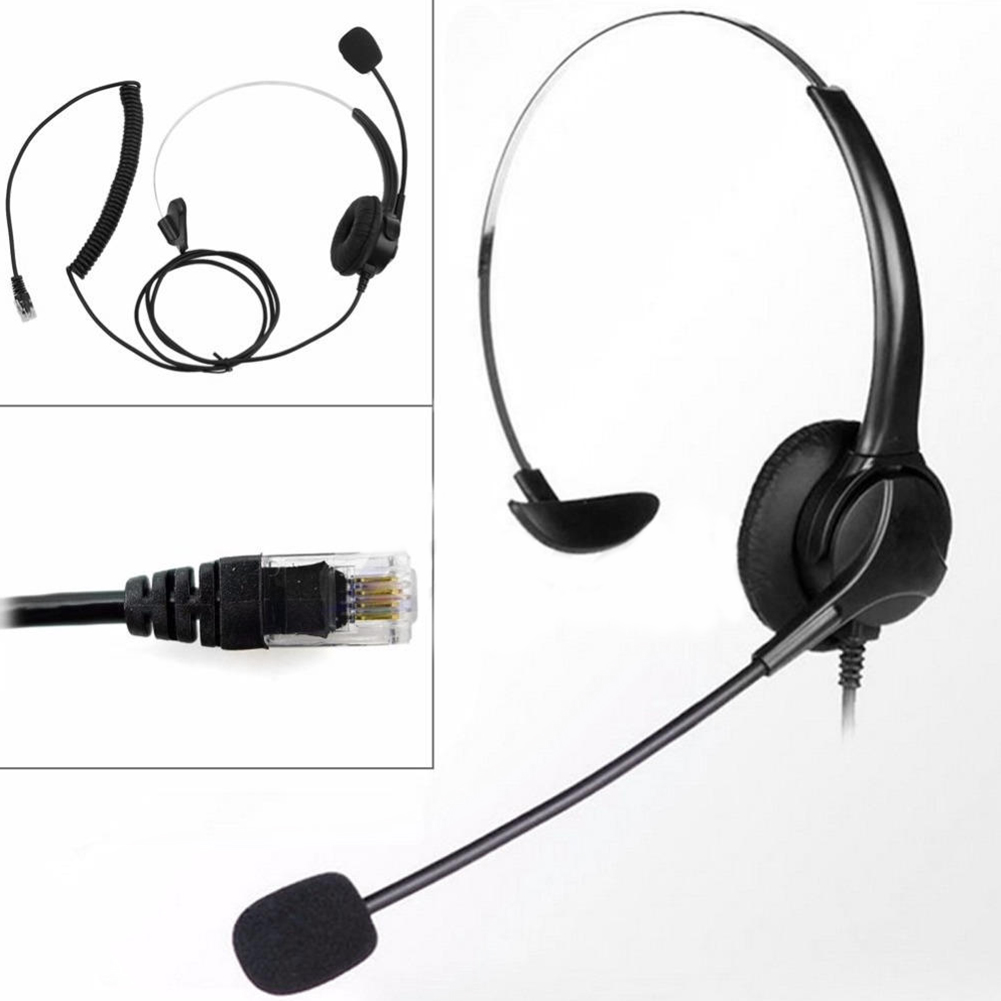 RJ11 Telephone Headset Customer Service Landline Voice Call Chat Headset image