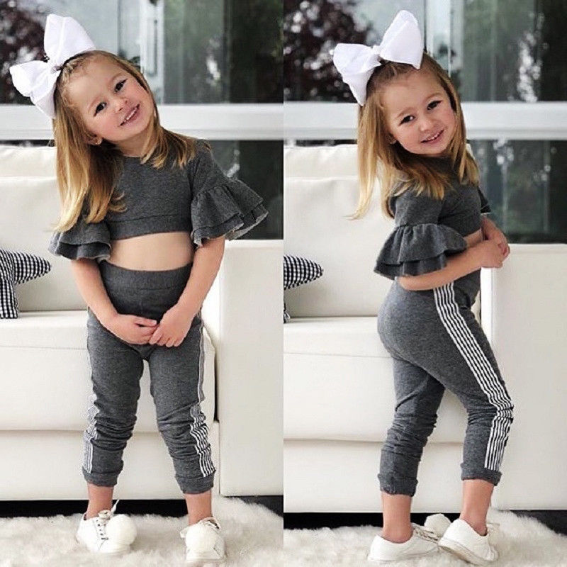Toddler Baby Kids Girl Clothes Floral Outfits Set Crop Tops+Flare Pants Leggings
