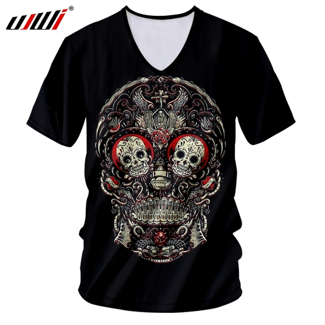 UJWI Summer Tops Black Men's Cool Print Embroidery Skull 3D T-shirt Casual Tshirt With V Neck Homme Hiphop Sportswear Tees Shirt