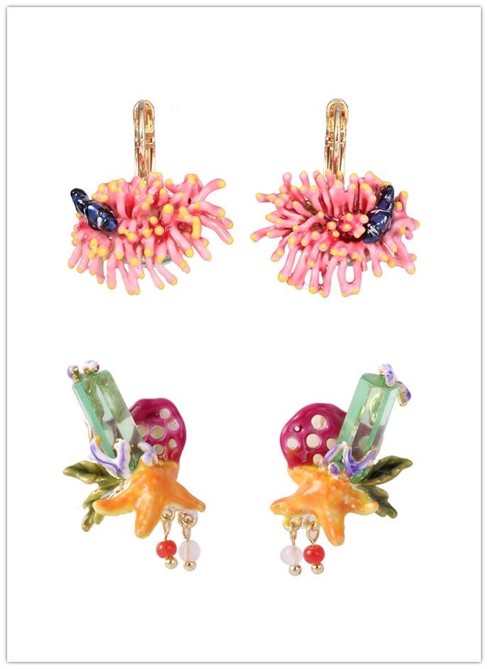 Livraison gratuite émail glaçure corail oreille crochet étoile de mer pierre boucles d'oreilles
