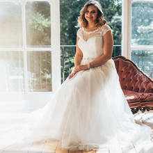 цена на New Cap Sleeve Applique Wedding Gowns Robe De Mariage Scoop Neck Sleeveless Tulle Wedding Dress Plus Size