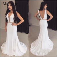 Menoqo 2019 Newest White V neck Mermaid Long Prom Dresses Backless Prom Gowns Special Occasion Dresses