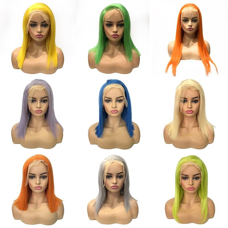 Chaude Beauté Cheveux Coloré Perruques de Cheveux Humains pour les Femmes Noires 180 Densité 10-30 pouce Brésilien Remy Droite 13*4 Avant de lacet Perruques