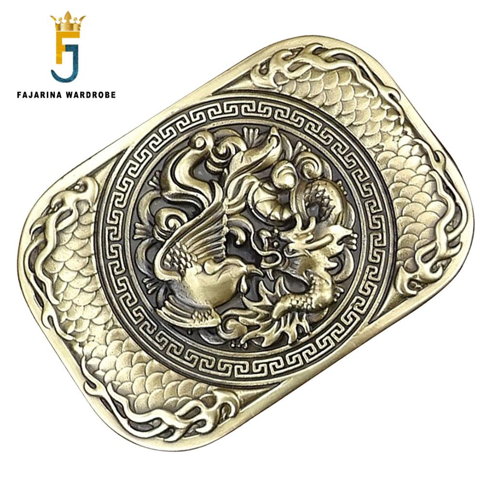 FAJARINA Unique Design Chinese Dragon Ifeng Belt Buckles Men 100% Pure Solid Gold Brass Buckle Only for 3.6-3.9cm Width BCK041