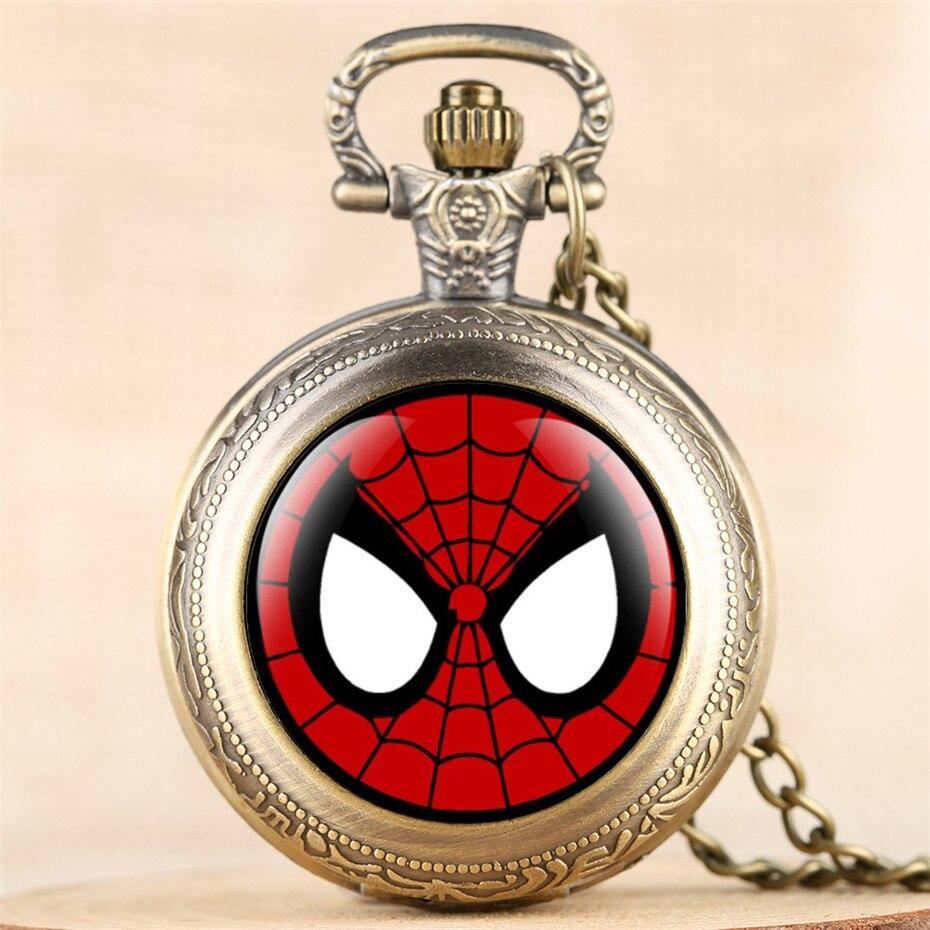 Classic Spider Man Theme Design Vintage Quartz Pocket Watch Retro Necklace Chain Fashion Cool Pendant Clock Gifts For Kids Reloj