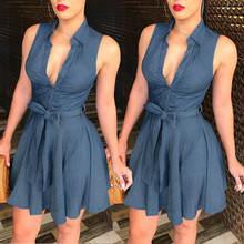 Женское джинсовое короткое платье без рукавов синее коктейльное
