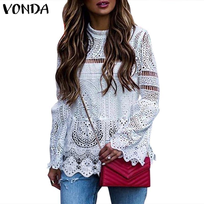 VONDA 2020 Women Sexy Lace Tunic Hollow Top Blouse Casual Long Sleeve Irregular Hem Patry Blusas  Beach Tops Ladies Shirt