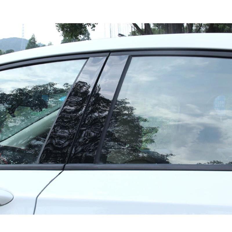 Image 2 - 6pcs/Set Black Mirror Effect Car Window Pillar Posts Cover Trim For Honda Civic 2006 2011 Auto Window Pillar Posts Cover Trim-in Chromium Styling from Automobiles & Motorcycles