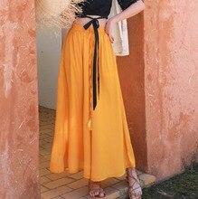 #0430 Yellow Green Koran Fashion Chiffon Wide Leg Pants Women Casual Summer Loose Elastic High Waist Solid Color Full Length