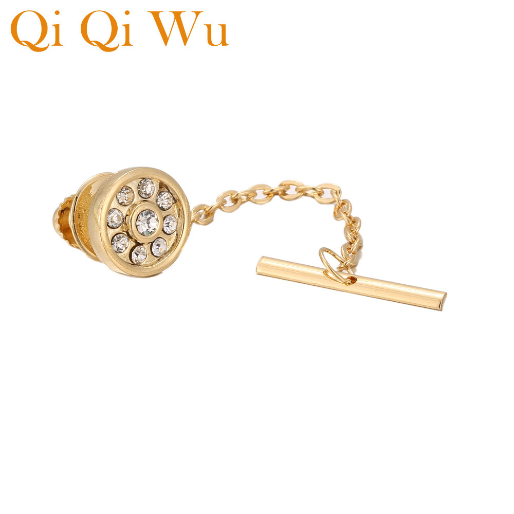 New Golden Round Matte Locking Tie Tack with Chain for Shirt Jewelry Guard Backs Clutch Clothing Mens Gifts Pins