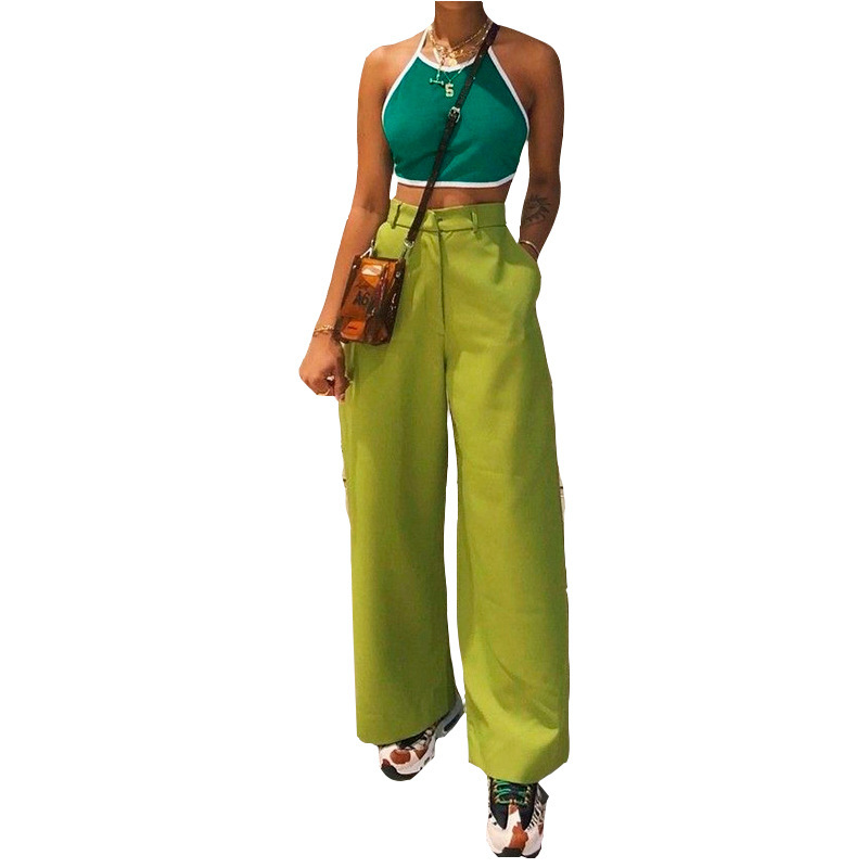 2019 Summer New Fashion Wide Leg Solid Color Pockets Street Time Haren Leisure Overalls Casual   Pants     Capris   Pantalon Femme Hot