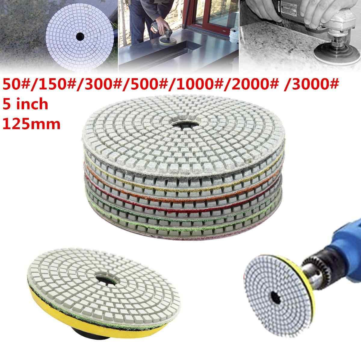 5 дюймов полировальными колодками 50/150/300/500/1000-3000 зернистость-7 шт влажных/сухой алмазный пильный диск для измельчения пила диски Мощность инструменты