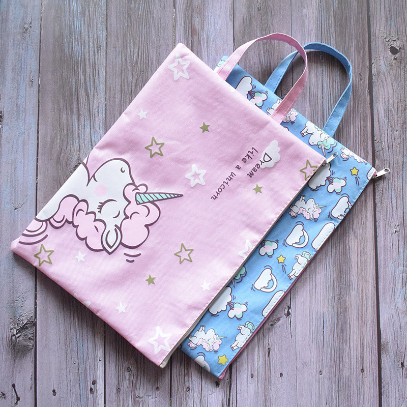 Cute Unicorn Pencil Bags Kawaii Canvas Portable Pencil Case High Capacity Pen Bag For Kids Girls Gift School Supplies Stationery
