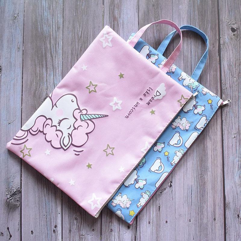 Cute Unicorn Pencil Bags Kawaii Canvas Portable Pencil Case High Capacity Pen Bag For Kids Girls Gift School Supplies Stationery