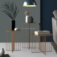 Творческий кованого железа журнальный столик Nordic современный минималистский сбоку гостиная спальня угловой несколько коммерческий кофей