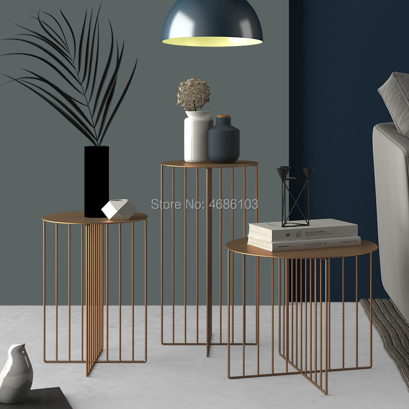 Creative wrought iron coffee table Nordic modern minimalist side living room bedroom corner several commercial coffee tables coffee table