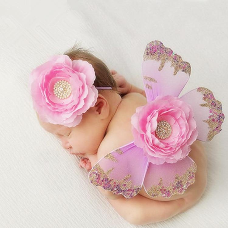 Newborn Photography Props Cute Butterfly Wings+Big Flower Diamond Baby Headdress Studio Babies Shooting Photo Prop Accessories