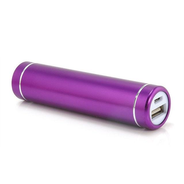 2600mAh Portable External USB Power Bank Box Battery Charger For Mobile Phone DC 5V Purple Color