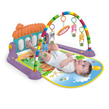 цена Baby Multi-function Piano Play Mat Fitness Baby Activity Gym Pedal With Hanging Pieces Mirror Promote Kids Sensory Development в интернет-магазинах