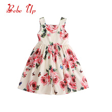 Girls Summer Cotton Princess Dress Kids Boutique Floral Designer Sundress Little Girl Fashion A-line Party Dress Sleeveless цена 2017