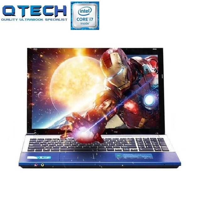 "i7 Gaming Notebook 15.6"" 8GB RAM SSD 256GB /64G + 750G/ 1TB HDD DVD Metal Laptop Business Arabic AZERTY Spanish Russian Keyboard"