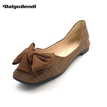 Fashion Big Bow-knot Flats Woman Casual Flat Shoes Square Toe Big Size Ballet Flats Four Season Shoes Girls new 2018 sexy bow open toe women lace flats fashion breathable women flat summer shoes ladies casual ballet flats big size 35 41