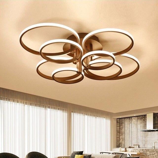 Lustres modernos luzes led luminárias de jantar para casa interior preto anéis sala estar quarto lâmpadas com controle remoto lustre