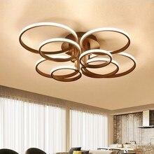 現代シャンデリアledライトダイニング器具屋内ホーム黒リングリビングルームの寝室のランプとリモコン光沢